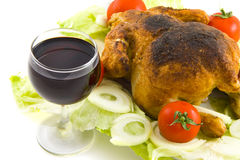 Wine and chicken Royalty Free Stock Images