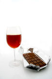 Wine and chocolate Stock Images