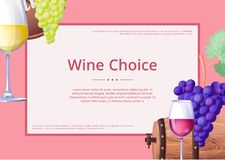 Wine Choice Promo Poster on Vector Illustration Stock Images