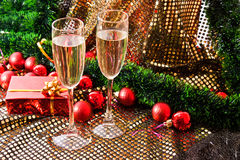 Wine and Christmas present Stock Photo