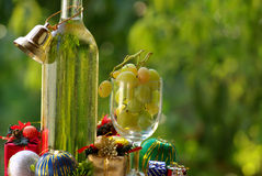 Wine With Christmas Presents. Stock Image
