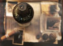 Wine & Cigar. Wine, cigar and old photosn Royalty Free Stock Photo