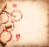 Wine circles from the bottle on old paper Royalty Free Stock Images