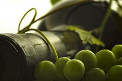 Wine closeup abstract. Wine bottle closeup with grapes detail Stock Images