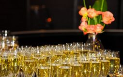 Wine Cocktail Welcome Drink at a corporate gala dinner. Banquet event Stock Photos