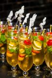 Wine Cocktail Welcome Drink at a corporate gala dinner. Banquet event stock photography