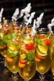 Wine Cocktail Welcome Drink at a corporate gala dinner. Banquet event Royalty Free Stock Photos