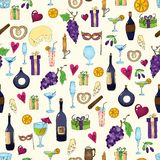 Wine and coctail seamless background. Holiday pattern with love hearts, wine, grapes, chees, bear and gifts royalty free illustration