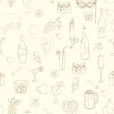 Wine and coctail seamless background. Holiday pattern with love hearts, wine, grapes, chees, bear and gifts. Colored version stock illustration