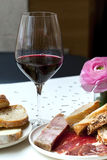 Wine and cold meat Stock Image