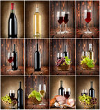 Wine collage. On a wooden background and textile background Stock Photos