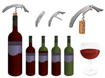 Wine collection. Collection of wine objects.  More wine related vectors in my portfolio Royalty Free Stock Images