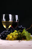 Wine collection: Grapes in front of two glasses of wine Royalty Free Stock Photography