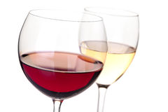 Wine collection - Red and white wine in glasses stock image