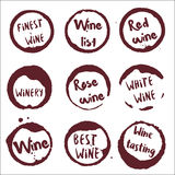 Wine collection of round watercolor stains with. Stock Images