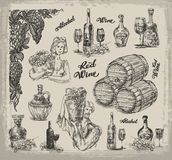 Wine. A collection of sketches on wine making Royalty Free Stock Photography