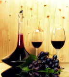 Wine collection- two glasses and bottle Stock Photo
