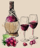 Wine collection. Vector illustration with wine barrel, wine glass, grapes, grape twig.Hand draw . Stock Images