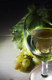 Wine collection: White wine glass on focus and white grapes Royalty Free Stock Images