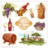 Wine colored icons set Royalty Free Stock Images
