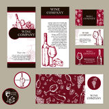 Wine company. Restaurant theme. Corporate identity. Document tem. Plate. Vector illustration Royalty Free Stock Photography