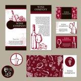 Wine company. Restaurant theme. Corporate identity. Document tem Royalty Free Stock Photography