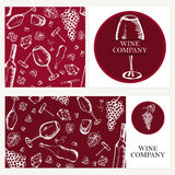 Wine company. Retro card, envelope. Restaurant theme. Business c Royalty Free Stock Photo
