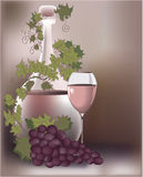 Wine composition. Romantic composition with wine and grapes. Vector illustration royalty free illustration