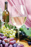 Wine composition. With bottle and glass of wine and bunch of grapes Royalty Free Stock Photo