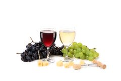 Wine composition of glasses and grapes. Stock Photo