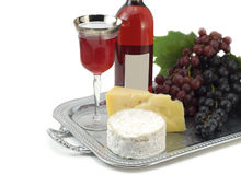 Wine composition isolated on white stock photos