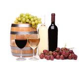 Wine composition. Is located on the white background Royalty Free Stock Image
