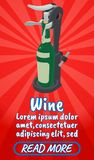 Wine concept banner, comics isometric style. Wine concept banner. Isometric banner of wine comics vector concept for web, giftcard and postcard stock illustration