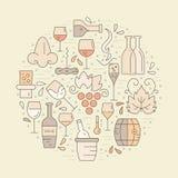 Wine Concept. Wine design elements in circle shape - corckscrew, bottles, glasses, wine splashes. Perfect vineyard advertising design Stock Photos