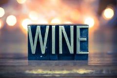 Wine Concept Metal Letterpress Type Stock Photography