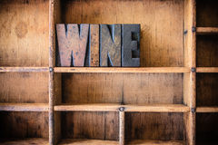 Wine Concept Wooden Letterpress Theme Stock Image