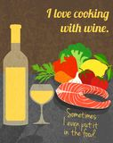 Wine cooking poster Royalty Free Stock Image