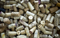 Wine Cork Background. A collection of wine corks representing a wide range of players in the wine industry Stock Images
