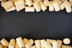 Wine cork background. Wine cork abstract pattern frame space for text in the middle horizontal composition Stock Images