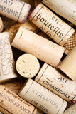 Wine cork background with copy space. Different wine corks with blank space for text Stock Photos