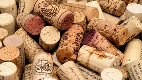 Wine cork background. Close up wine corks ends placed evenly Stock Photos