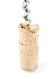 Wine cork with corkscrew Stock Photos