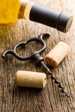 Wine cork and corkscrew Stock Images