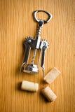 Wine cork and corkscrew Royalty Free Stock Photo