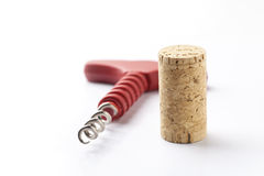 Wine cork and corkscrew Royalty Free Stock Photography