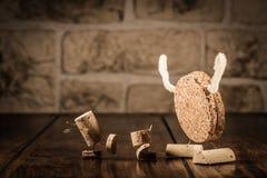 Wine cork figures, Concept Bogeyman and Children. Concept Children and Monster, wine cork figures Royalty Free Stock Photos