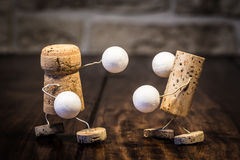 Wine cork figures, Concept Box fighting Stock Photography