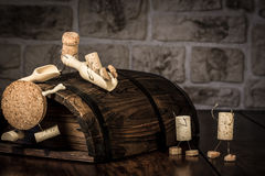 Wine cork figures, Concept Children on a sliding board Stock Photography