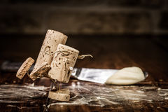 Wine cork figures, Concept couple skating on Table Royalty Free Stock Photo