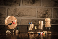Wine cork figures, Concept Dart with Pins Stock Images